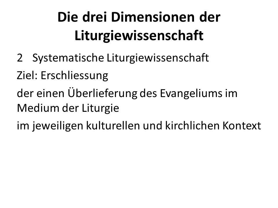 Die drei Dimensionen der Liturgiewissenschaft