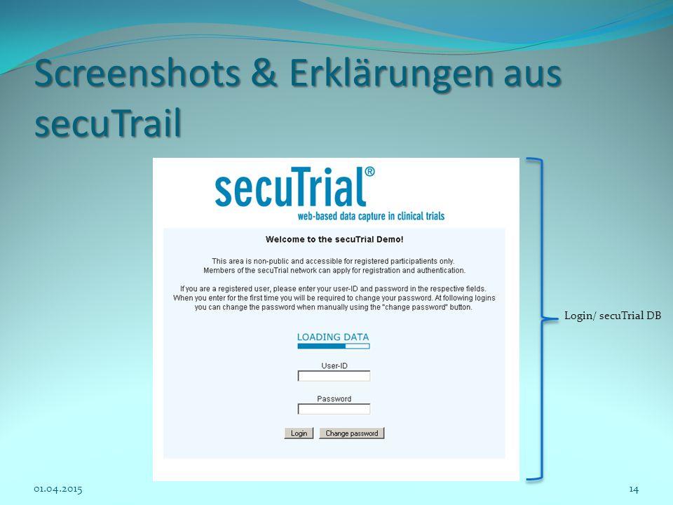 Screenshots & Erklärungen aus secuTrail