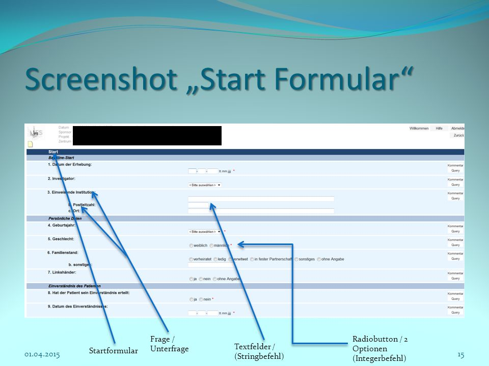 "Screenshot ""Start Formular"