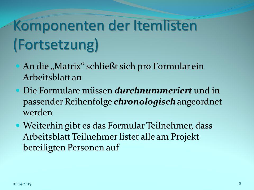 Komponenten der Itemlisten (Fortsetzung)