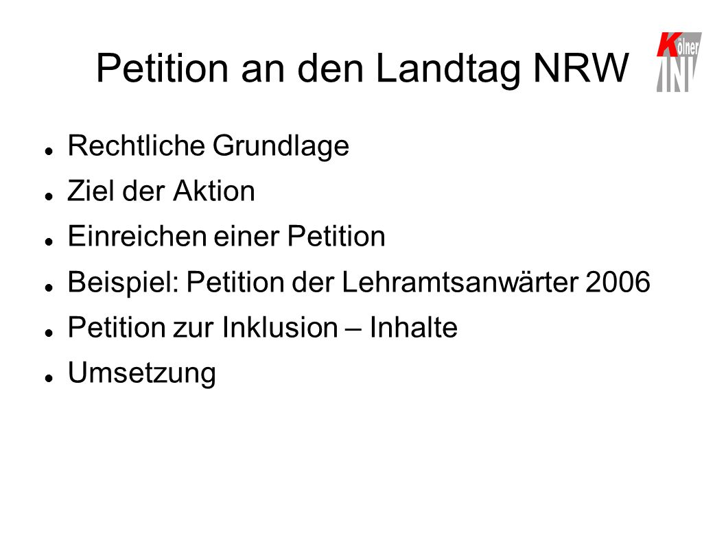 Petition an den Landtag NRW
