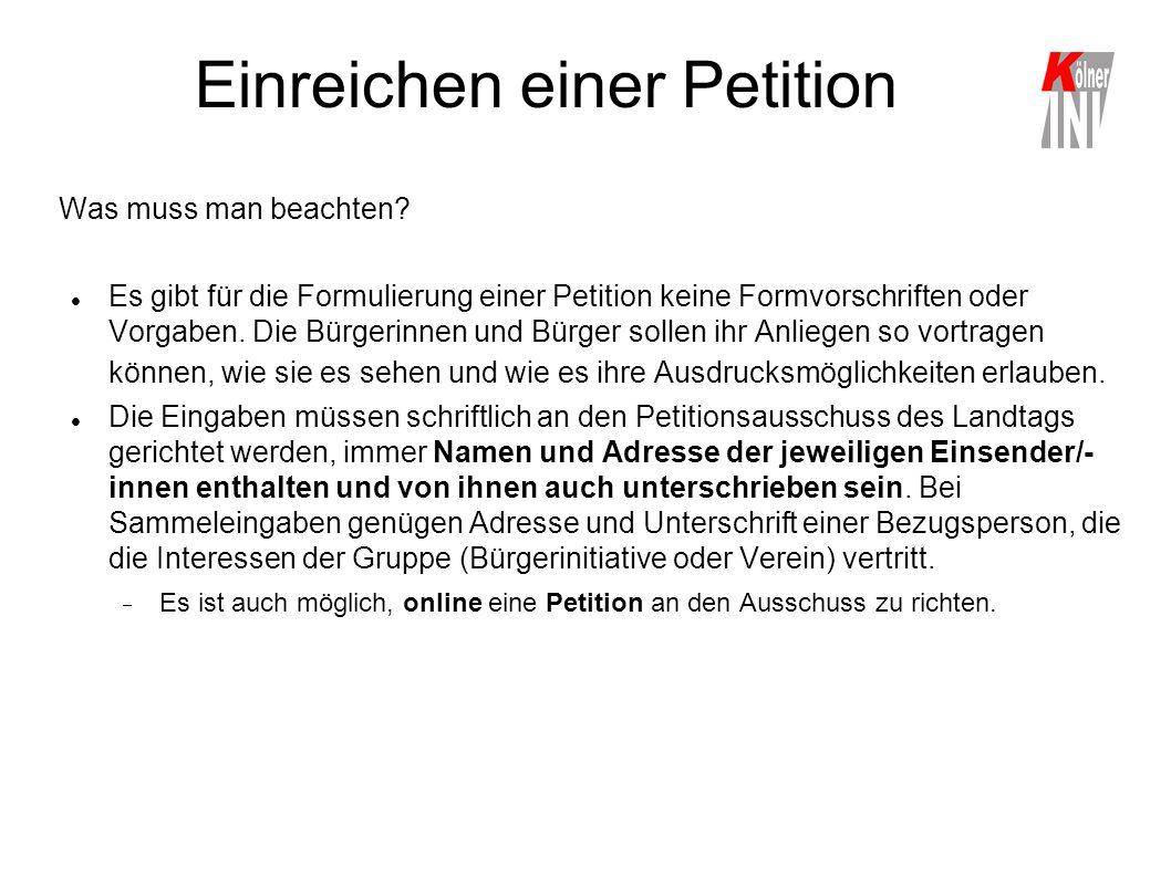 Einreichen einer Petition