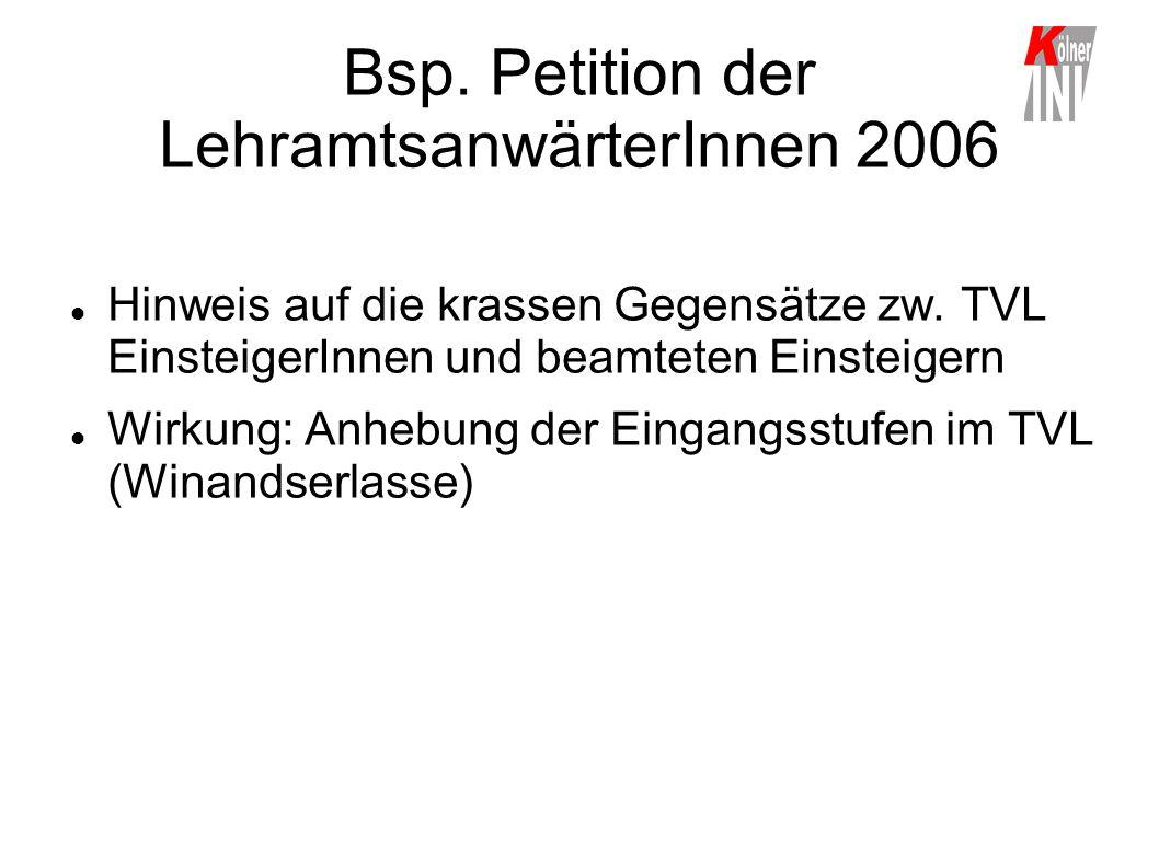 Bsp. Petition der LehramtsanwärterInnen 2006