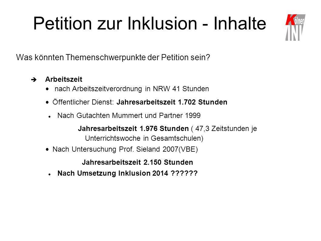Petition zur Inklusion - Inhalte