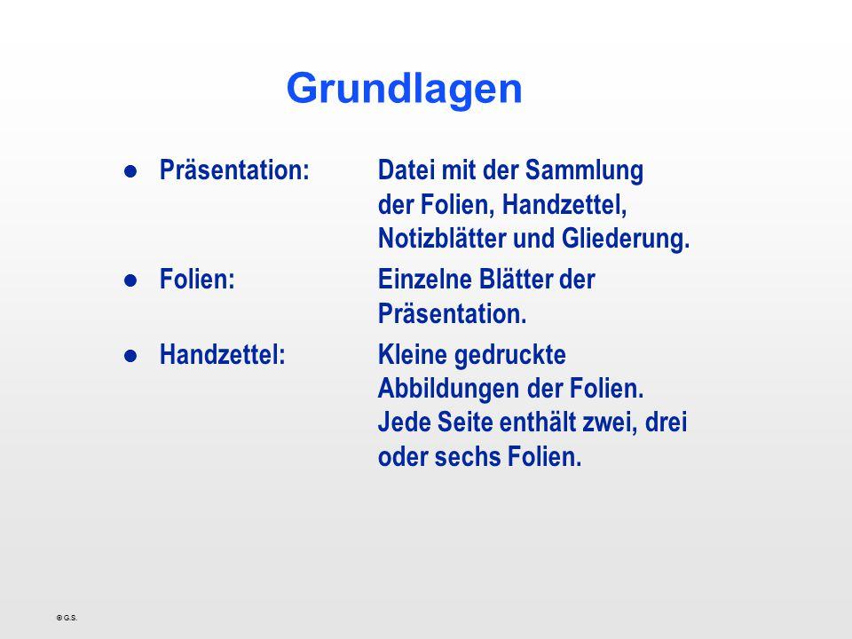 Grundlagen Präsentation: Datei mit der Sammlung der Folien, Handzettel, Notizblätter und Gliederung.