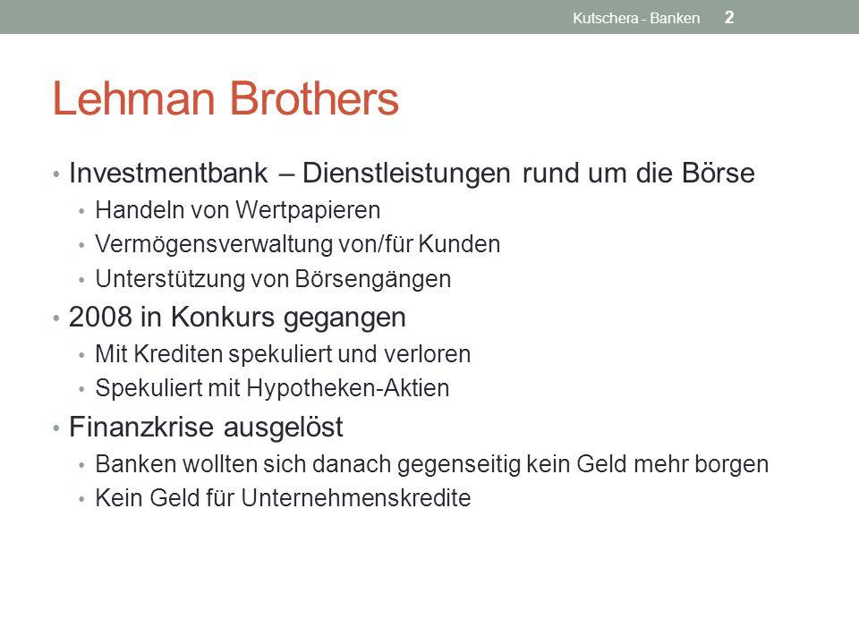 Lehman Brothers Investmentbank – Dienstleistungen rund um die Börse