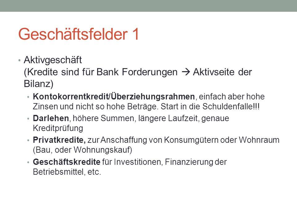 Geschäftsfelder 1 Aktivgeschäft (Kredite sind für Bank Forderungen  Aktivseite der Bilanz)
