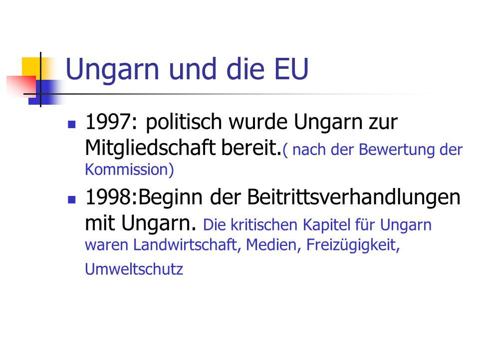Ungarn und die EU 1997: politisch wurde Ungarn zur Mitgliedschaft bereit.( nach der Bewertung der Kommission)