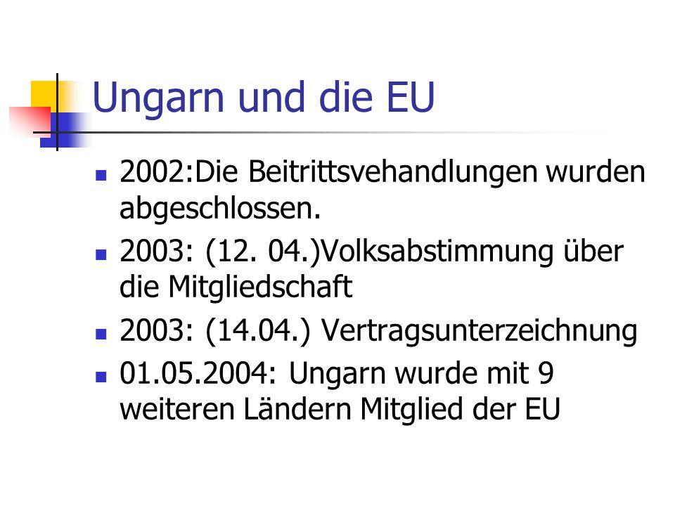 Ungarn und die EU 2002:Die Beitrittsvehandlungen wurden abgeschlossen.