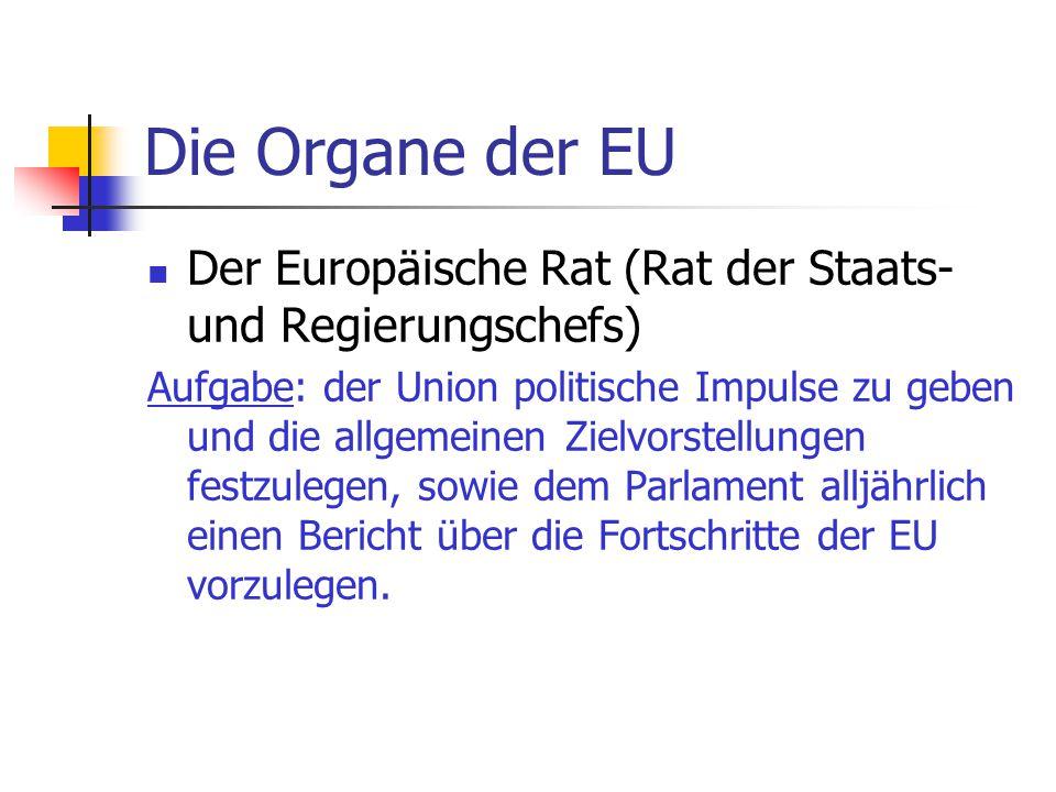 Die Organe der EU Der Europäische Rat (Rat der Staats- und Regierungschefs)