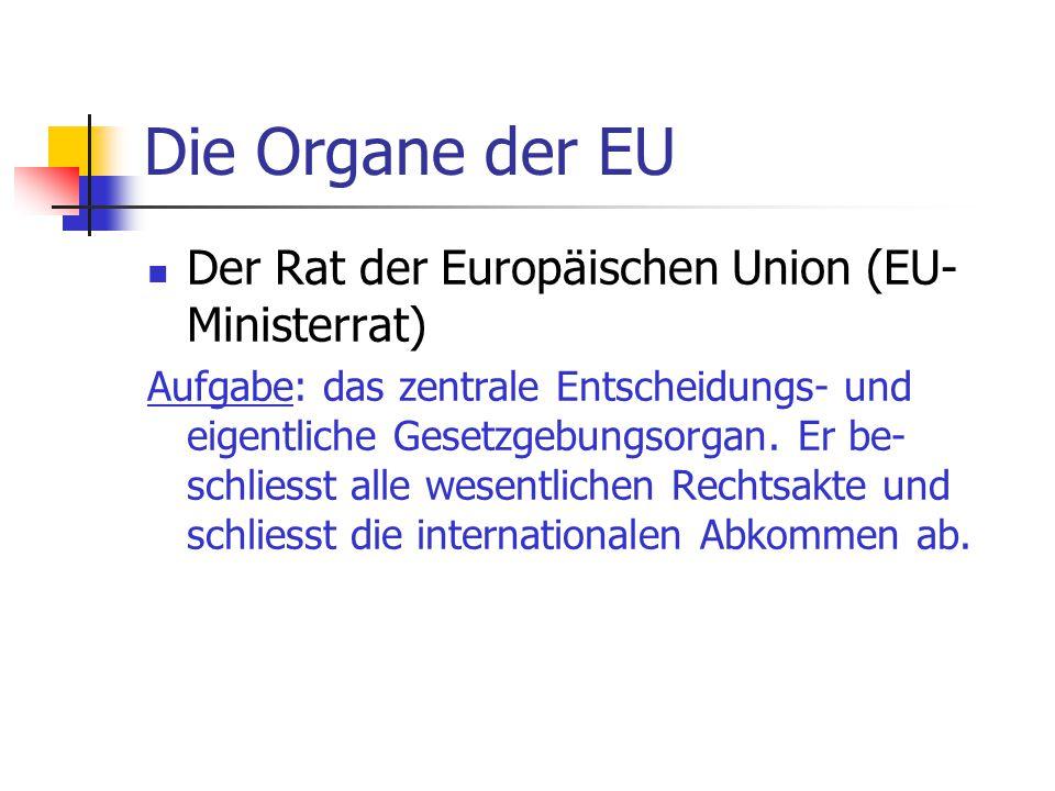 Die Organe der EU Der Rat der Europäischen Union (EU-Ministerrat)