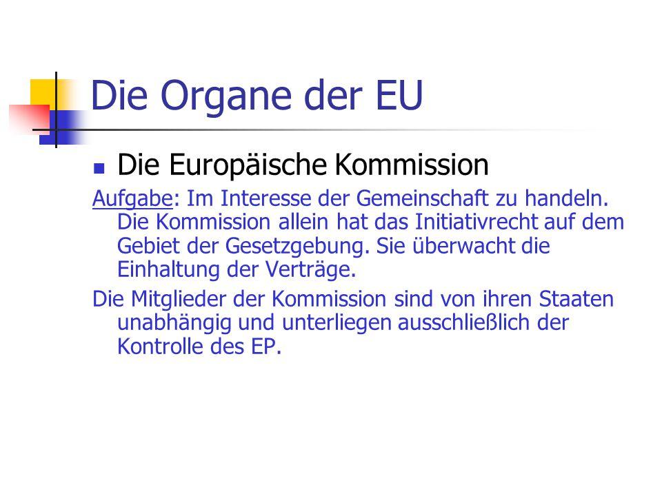 Die Organe der EU Die Europäische Kommission
