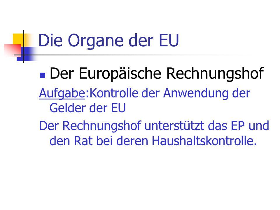 Die Organe der EU Der Europäische Rechnungshof