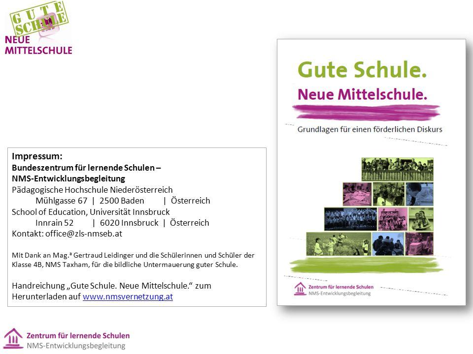 Impressum: Bundeszentrum für lernende Schulen – NMS-Entwicklungsbegleitung. Pädagogische Hochschule Niederösterreich.
