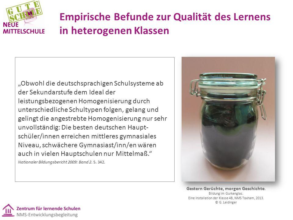 Empirische Befunde zur Qualität des Lernens in heterogenen Klassen