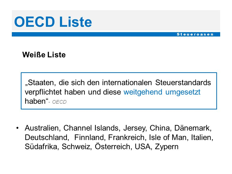 OECD Liste S t e u e r o a s e n. Weiße Liste.