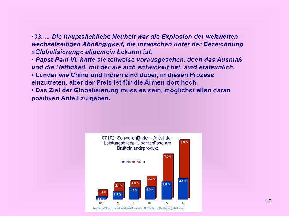 33. ... Die hauptsächliche Neuheit war die Explosion der weltweiten wechselseitigen Abhängigkeit, die inzwischen unter der Bezeichnung »Globalisierung« allgemein bekannt ist.
