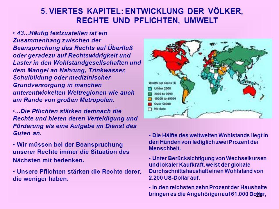 5. VIERTES KAPITEL: ENTWICKLUNG DER VÖLKER, RECHTE UND PFLICHTEN, UMWELT