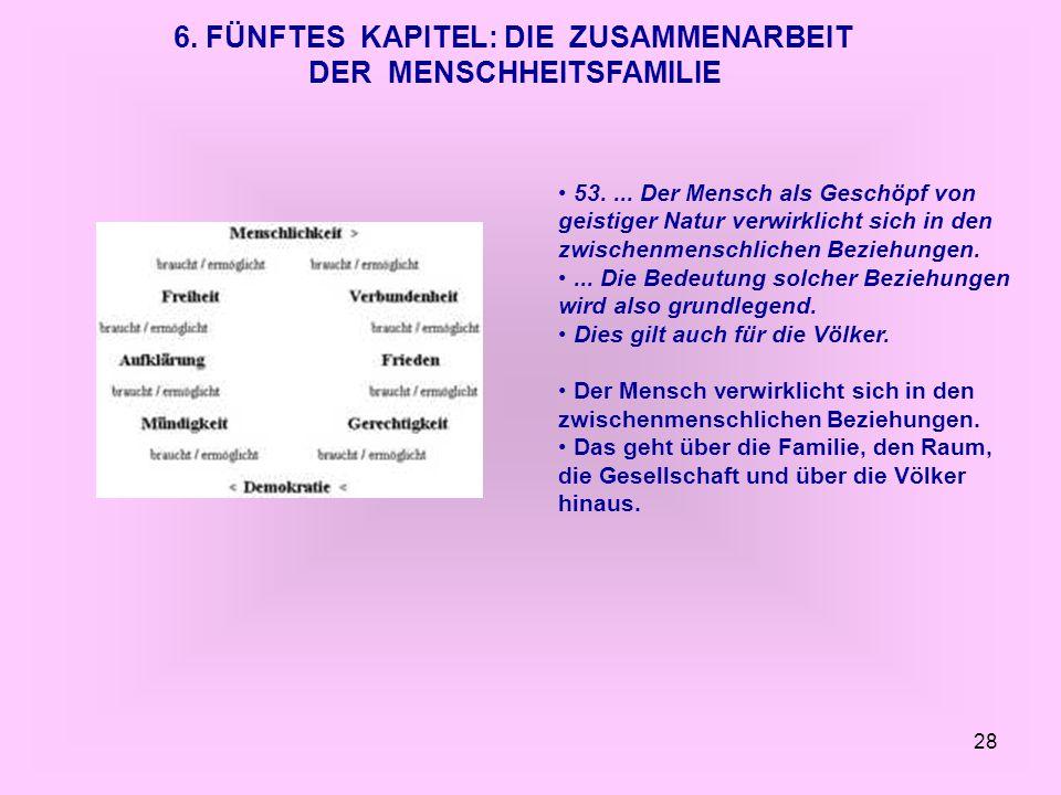 6. FÜNFTES KAPITEL: DIE ZUSAMMENARBEIT DER MENSCHHEITSFAMILIE