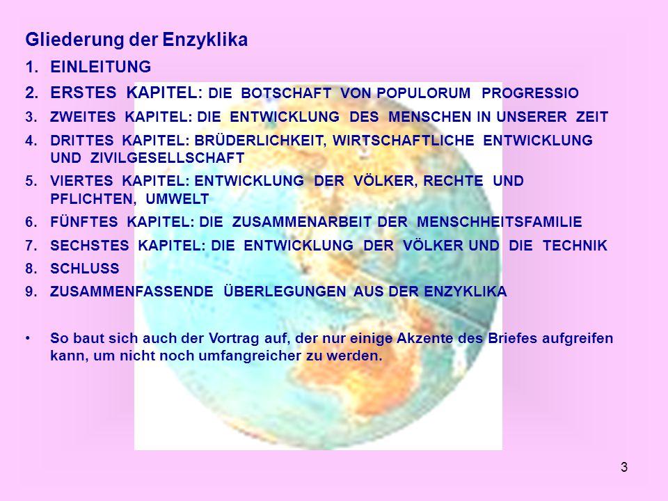 Gliederung der Enzyklika