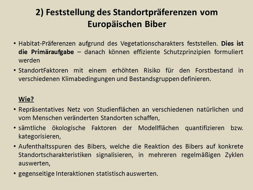 2) Feststellung des Standortpräferenzen vom Europäischen Biber