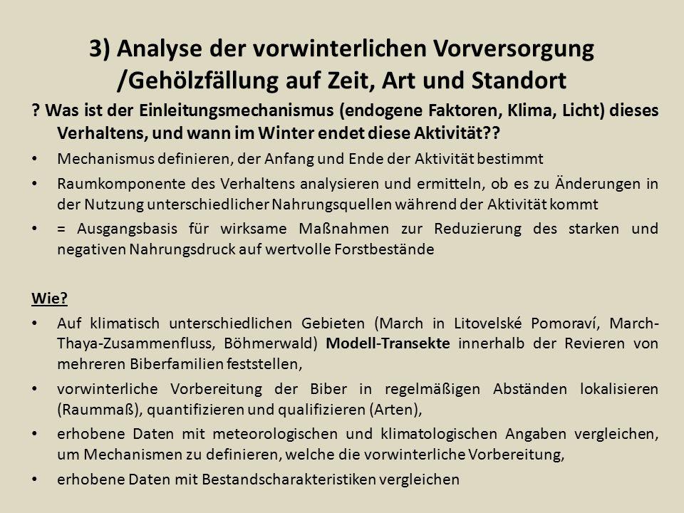 3) Analyse der vorwinterlichen Vorversorgung /Gehölzfällung auf Zeit, Art und Standort