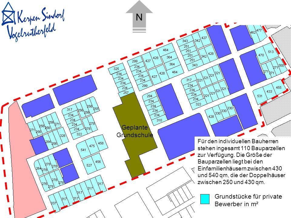 N Geplante Grundschule Grundstücke für private Bewerber in m²