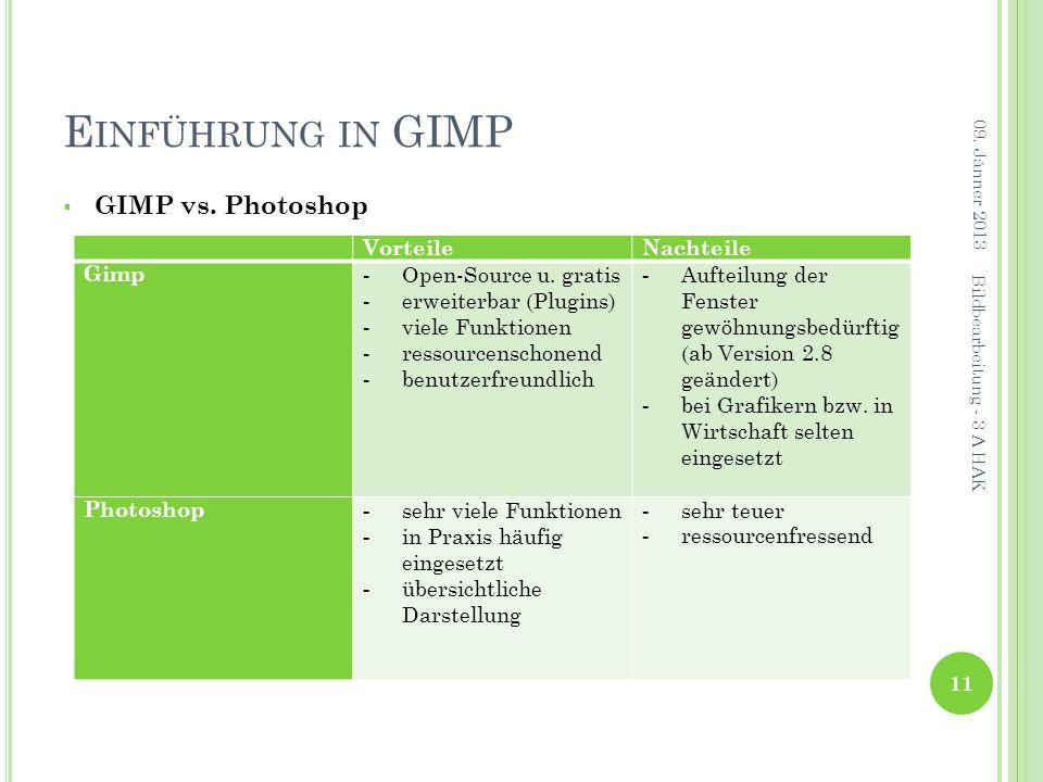 Einführung in GIMP GIMP vs. Photoshop Vorteile Nachteile Gimp