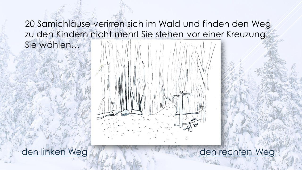 20 Samichläuse verirren sich im Wald und finden den Weg zu den Kindern nicht mehr! Sie stehen vor einer Kreuzung. Sie wählen…