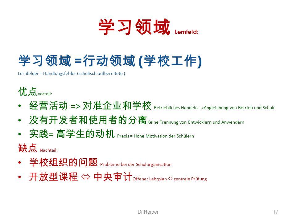 学习领域 Lernfeld: 学习领域 =行动领域 (学校工作) 优点Vorteil:
