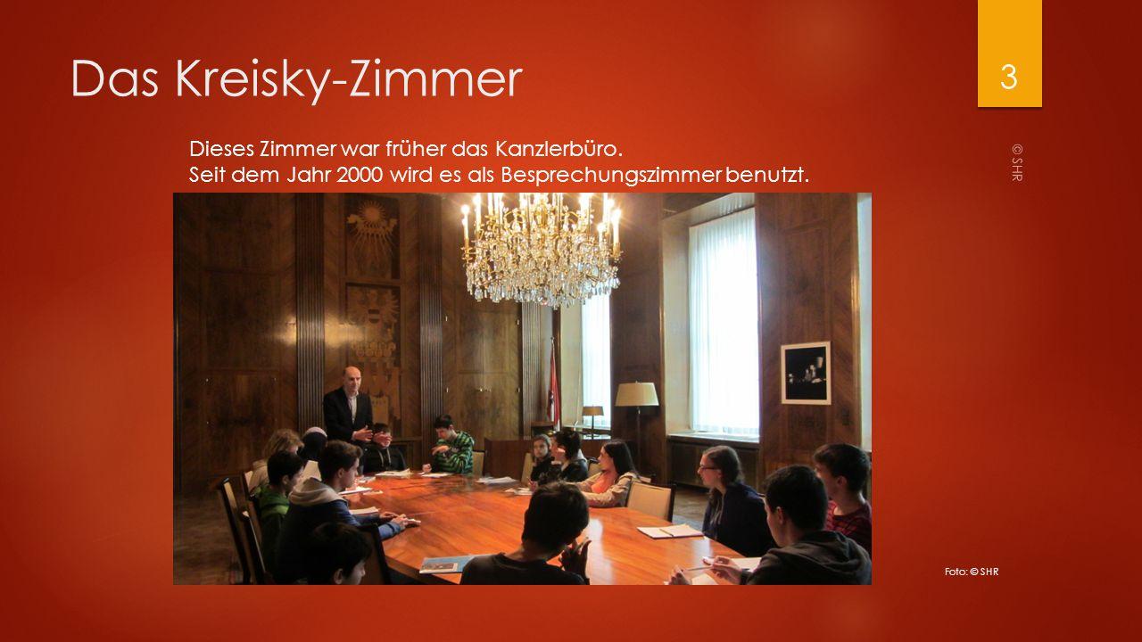 Das Kreisky-Zimmer Dieses Zimmer war früher das Kanzlerbüro. Seit dem Jahr 2000 wird es als Besprechungszimmer benutzt.