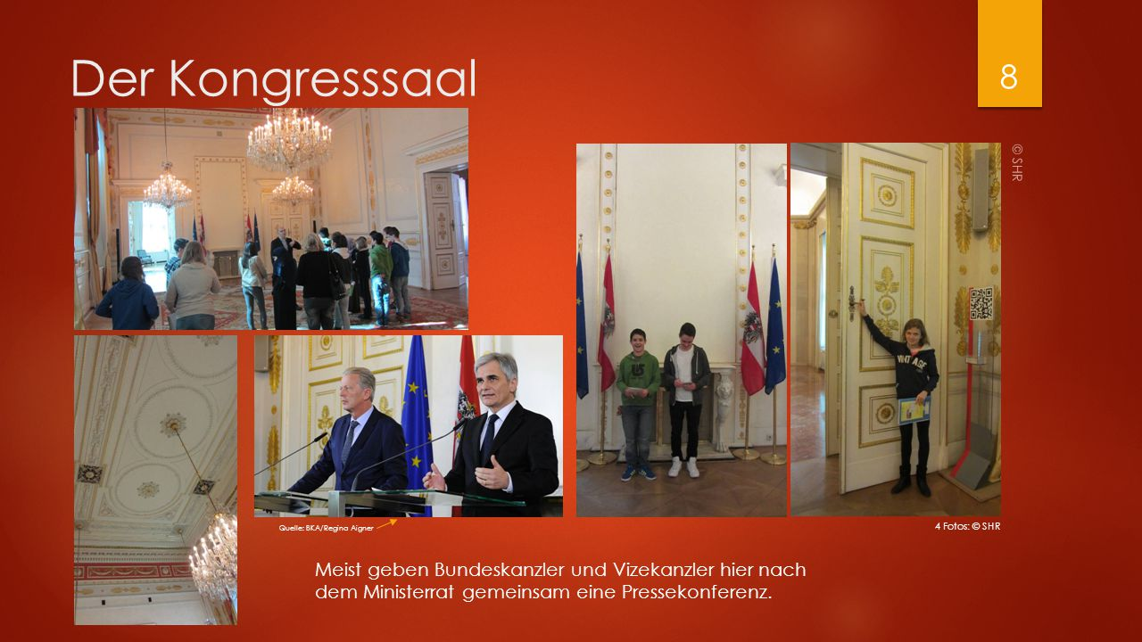 Der Kongresssaal © SHR. Quelle: BKA/Regina Aigner. 4 Fotos: © SHR.