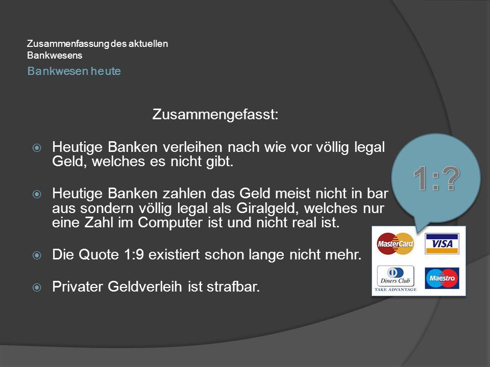 Zusammenfassung des aktuellen Bankwesens
