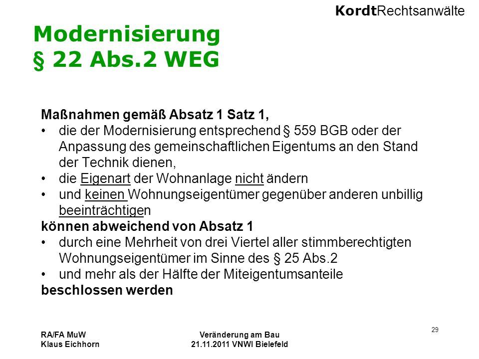 Modernisierung § 22 Abs.2 WEG