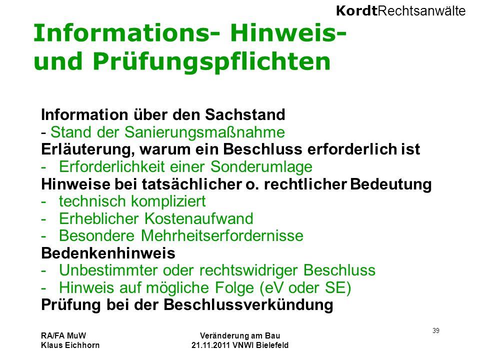 Informations- Hinweis- und Prüfungspflichten