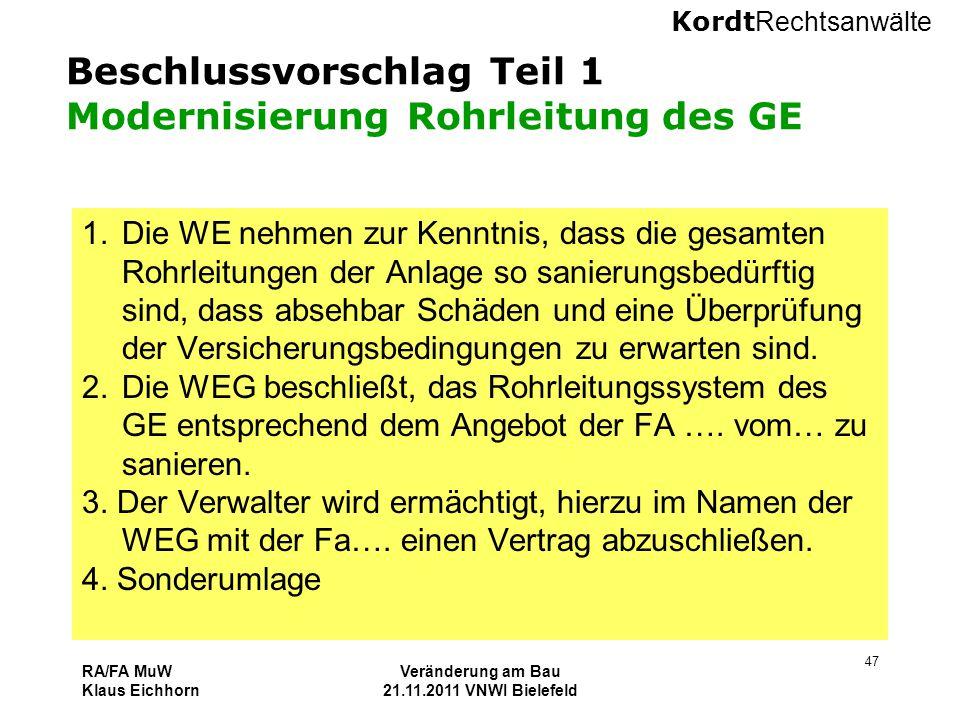 Beschlussvorschlag Teil 1 Modernisierung Rohrleitung des GE