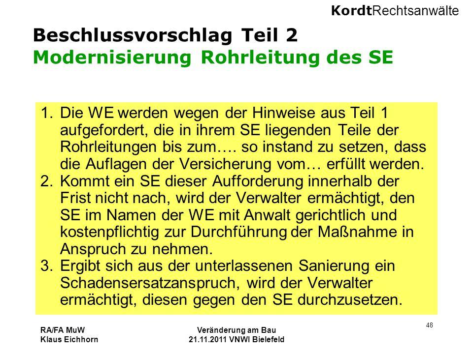 Beschlussvorschlag Teil 2 Modernisierung Rohrleitung des SE