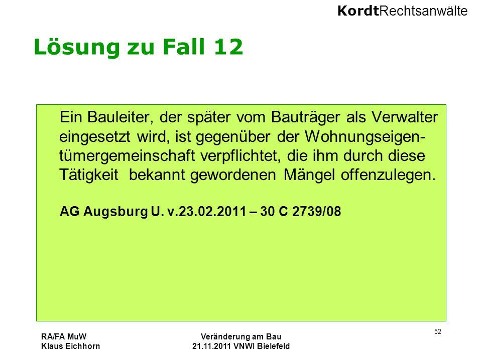 Veränderung am Bau 21.11.2011 VNWI Bielefeld