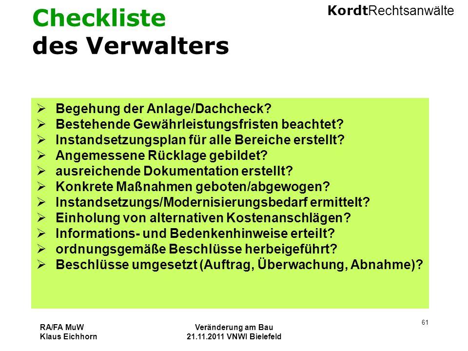 Checkliste des Verwalters