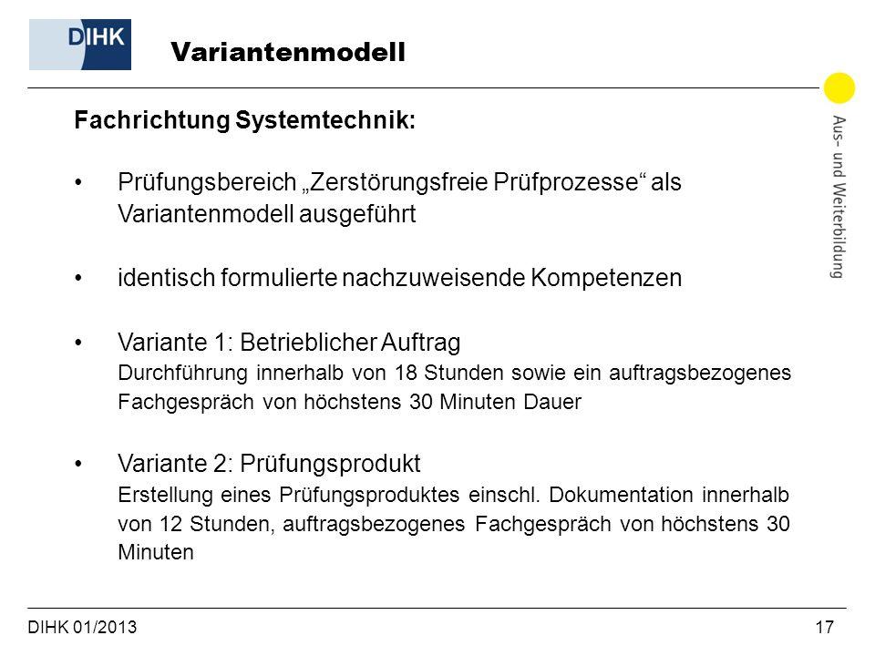 Variantenmodell Fachrichtung Systemtechnik: