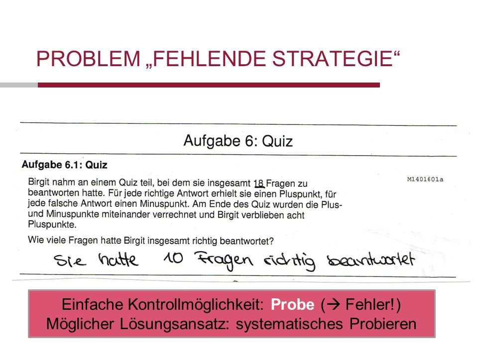 "Problem ""fehlende Strategie"