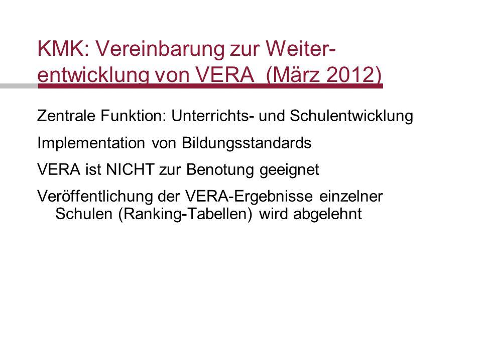 KMK: Vereinbarung zur Weiter-entwicklung von VERA (März 2012)