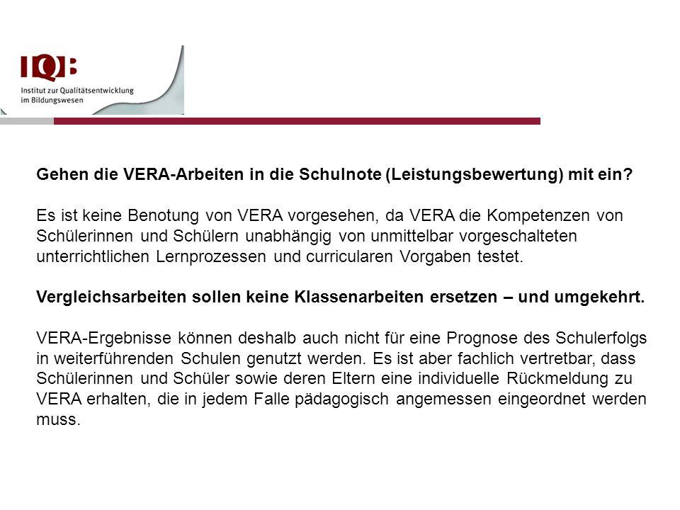 Gehen die VERA-Arbeiten in die Schulnote (Leistungsbewertung) mit ein