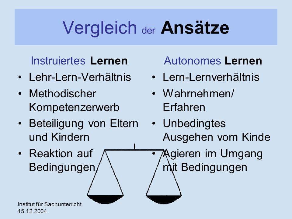 Vergleich der Ansätze Instruiertes Lernen Lehr-Lern-Verhältnis
