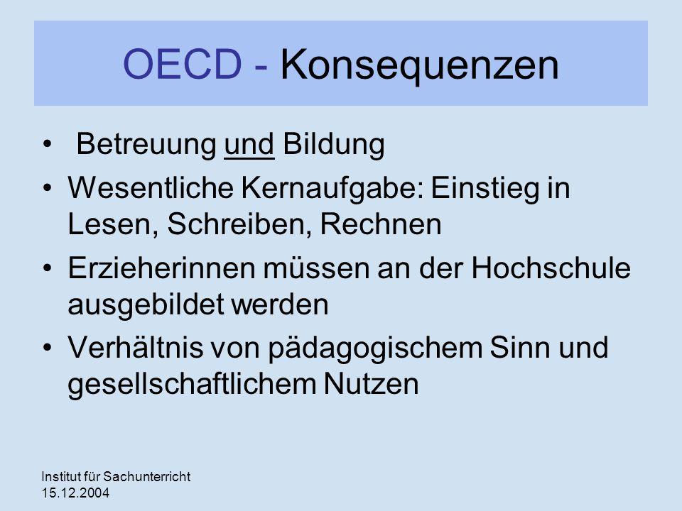 OECD - Konsequenzen Betreuung und Bildung
