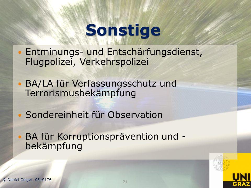 Sonstige Entminungs- und Entschärfungsdienst, Flugpolizei, Verkehrspolizei. BA/LA für Verfassungsschutz und Terrorismusbekämpfung.