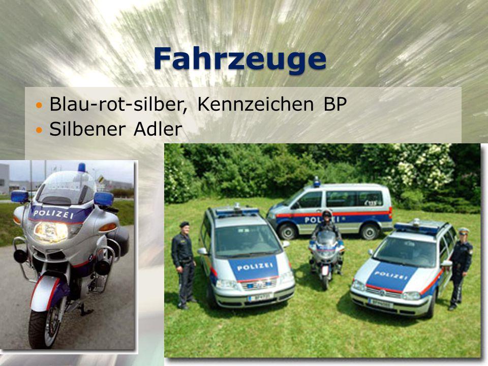 Fahrzeuge Blau-rot-silber, Kennzeichen BP Silbener Adler