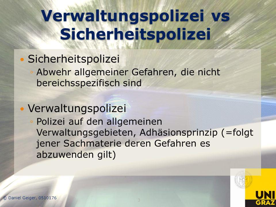 Verwaltungspolizei vs Sicherheitspolizei