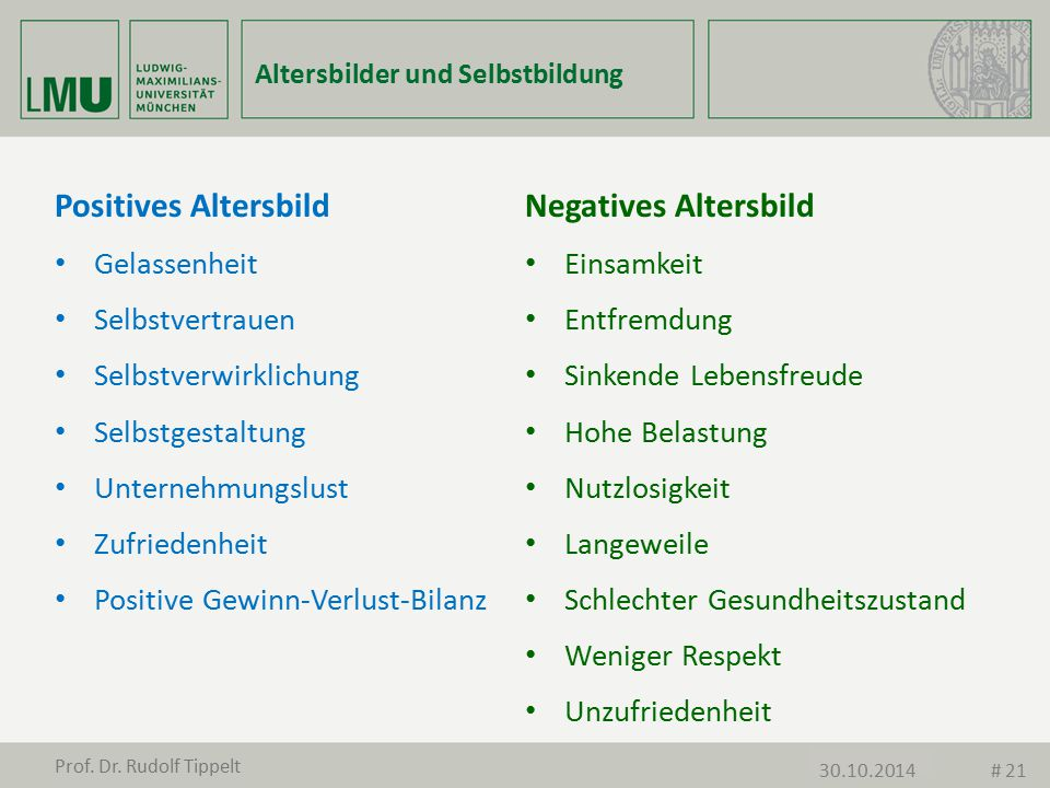 Positives Altersbild Negatives Altersbild Gelassenheit Einsamkeit