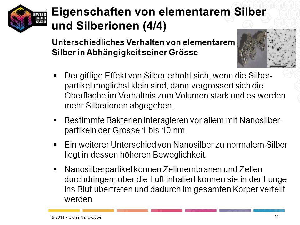 Eigenschaften von elementarem Silber und Silberionen (4/4)